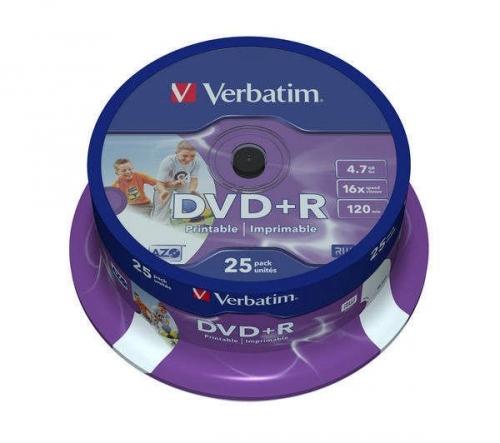 Disk Verbatim DVD+R 4,7GB, 16x, printable, 25-cake