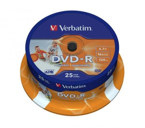 Disk Verbatim Printable DVD-R 4.7GB, 16x, 25-cake