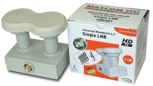 Konvertor LNB Mascom MonoBlock Single, 1 účastník / 2 družice