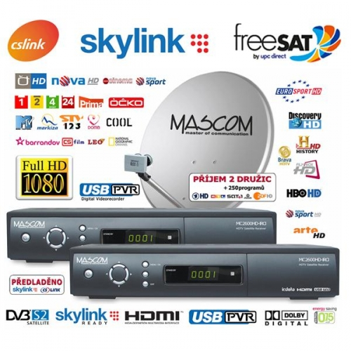 Satelitní komplet Mascom MC2600HD/80MBL TWIN