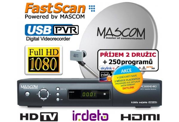 Satelitní komplet Mascom MC2600/80MBL+karta Skylink Standart M7, příjem 2 družic