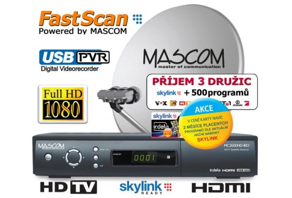 Satelitní komplet Mascom MC2600/80M3+karta Skylink Standart M7, příjem tří družic