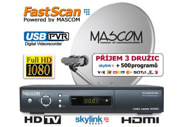 Satelitní komplet Mascom MC2600/80M3 příjem tří družic