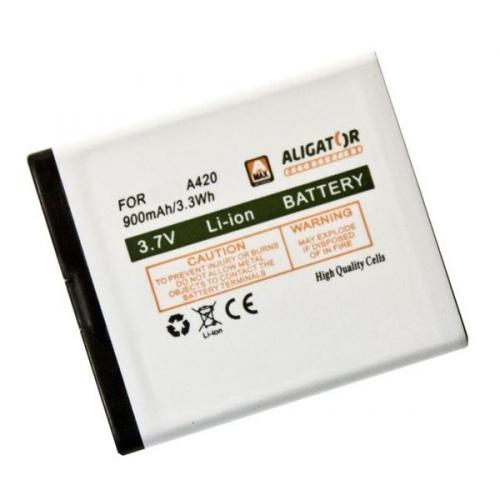 Baterie Aligator pro A420 900mAh, Li-Ion - bílá