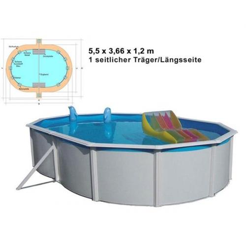 Bazén Steinbach Nuovo de Luxe oval 5,5x3,66x1,2 m s kovovou konstrukcí vč. pískové filtrace Cleanmaster, 4 m3/h