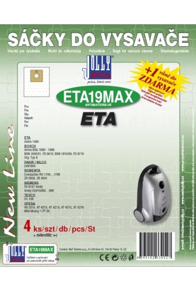 Filtr Jolly MAX ETA 19 (4ks) do vysav. Eta, Rowenta