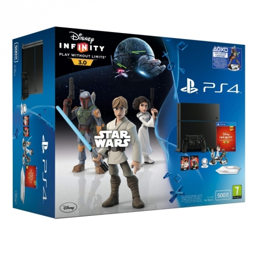 Herní konzole Sony PlayStation 4 500GB + hra Disney Infinity 3.0: Star Wars - černá