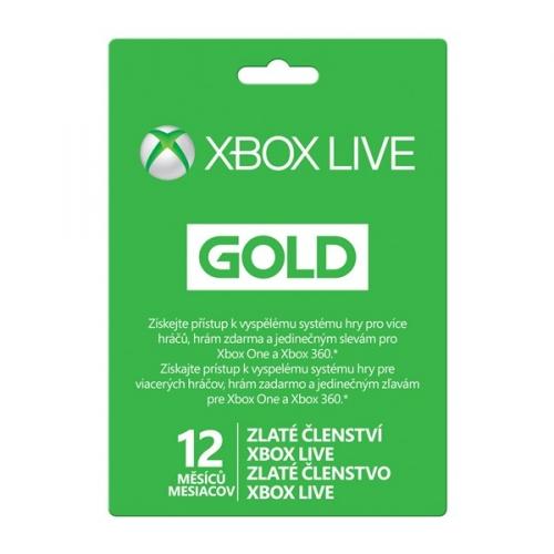 Předplacená karta Microsoft Xbox LIVE Gold - zlaté členství 12 měsíců